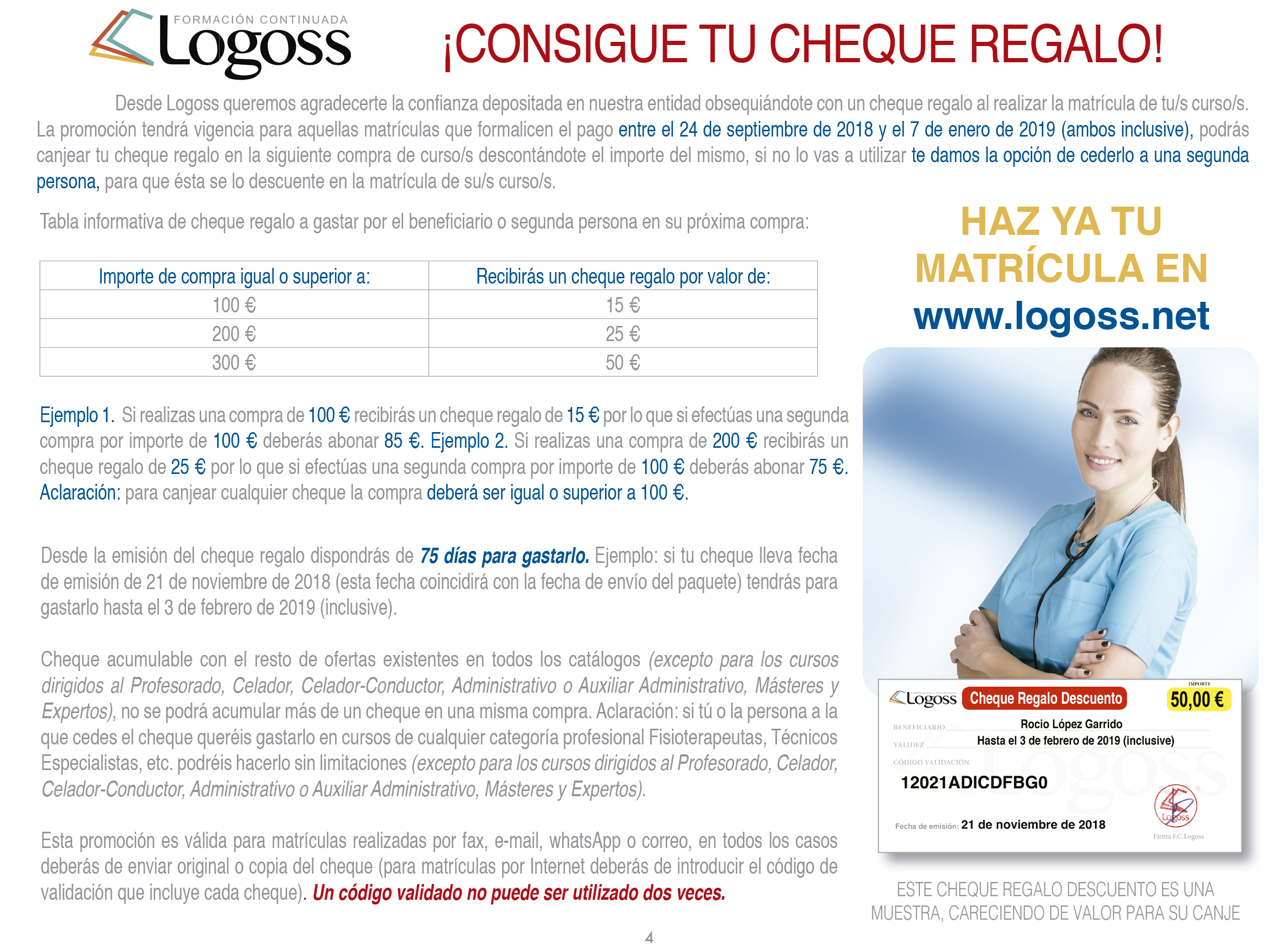 Cheque Regalo Logoss